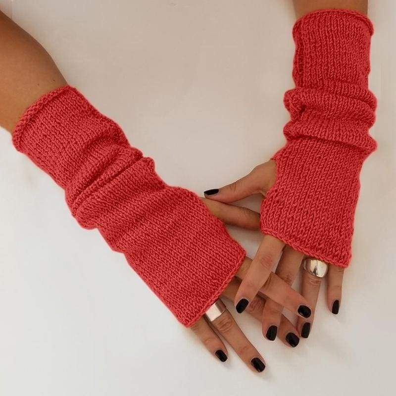 Autumn Winter Fashion Women Knitted Gloves Ladies Arm Warmers Soft Fingerless Long Gloves Wool Mittens