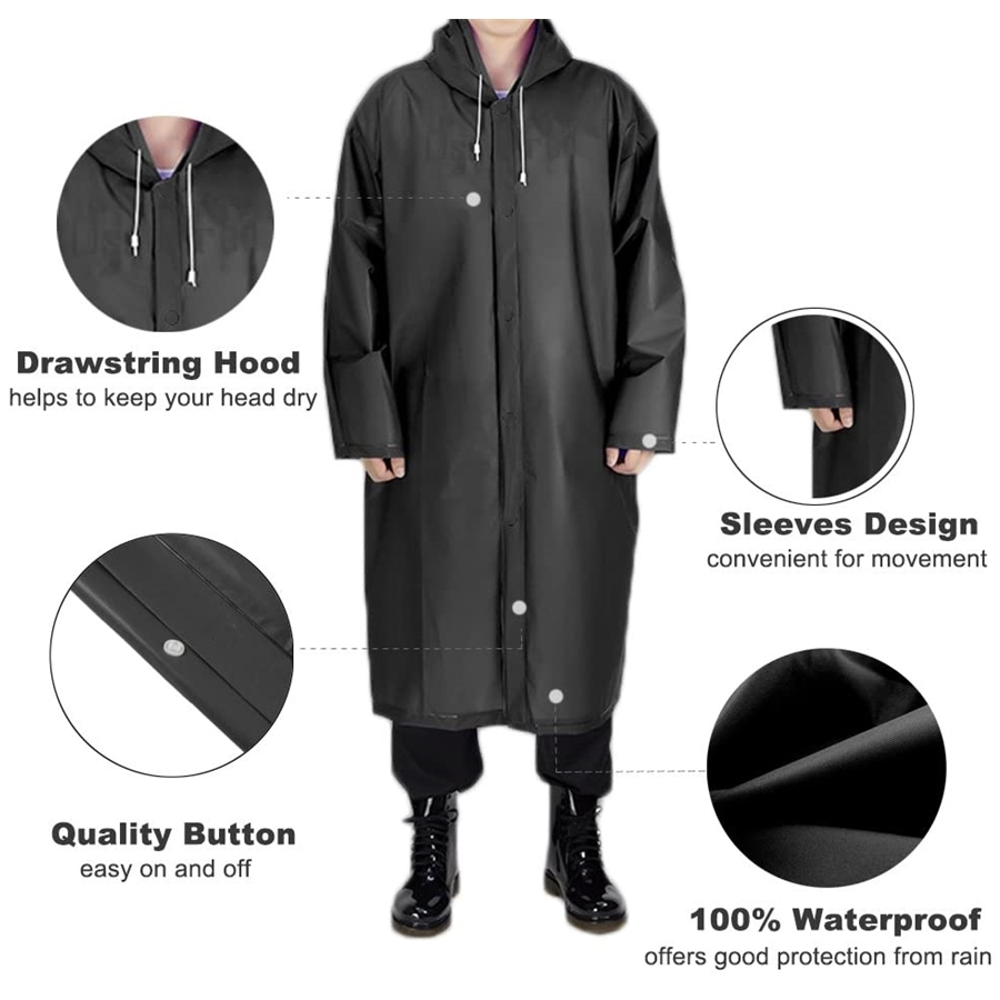 Portable EVA Raincoats | Reusable Rain Ponchos with Hoods and Sleeves Lightweight Raincoats