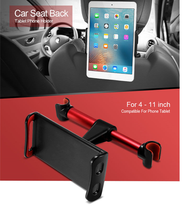 (Lazy Gospel!!!)Universal Back Seat Headrest Tablet Mount and mobile phone Holder with 360 Degree Rotation Red