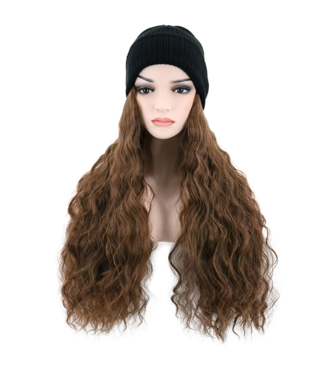 Long Curly Brown Wig Beanie Hat with Hair Winter Knit Hat Wavy Wig for Women Girls Daily Use Party Hair Extensions