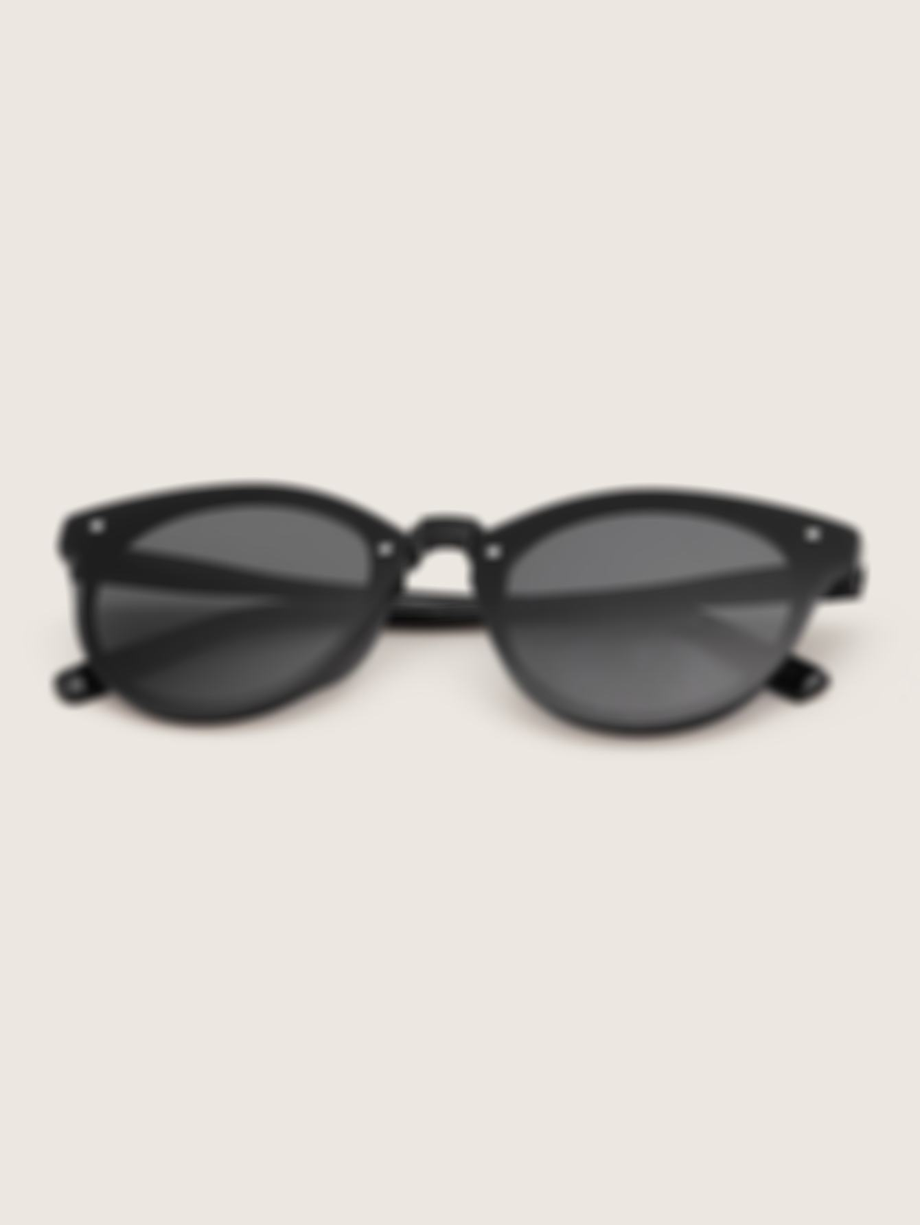 Rivet Decor Flat Lens Sunglasses With Case