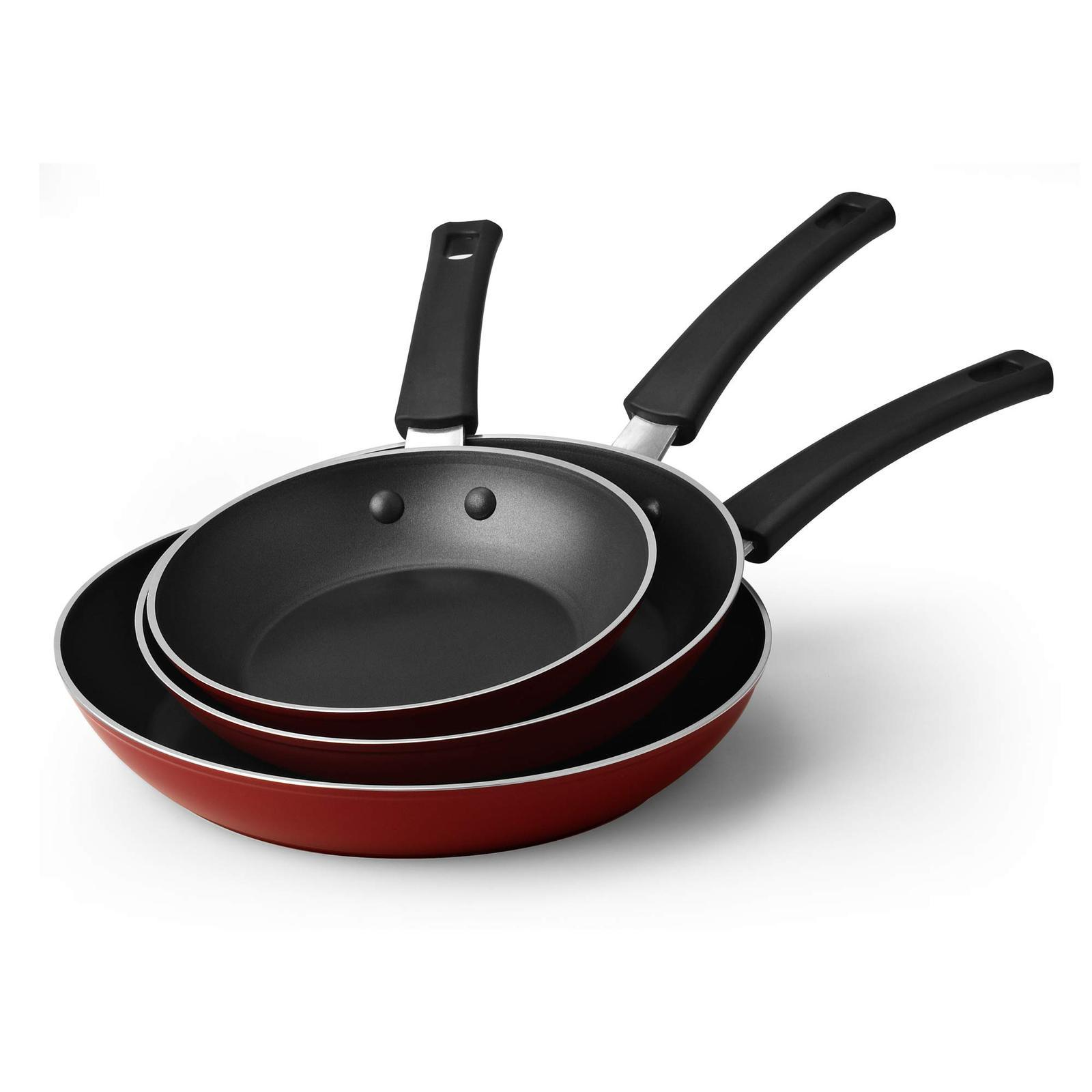 Cook N Home 02614 3-Piece Fry Pan Set, 8, 9.5, and 11-Inch, Red