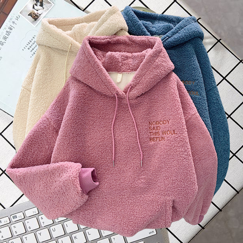 Autumn and winter warm hoodie ladies letter embroidery casual loose hooded sweatshirt