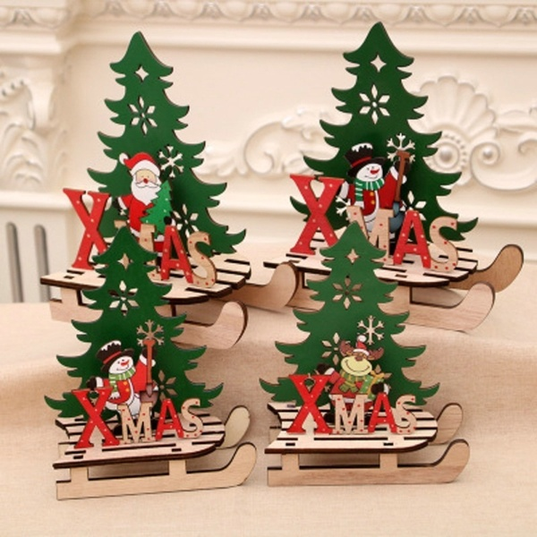 2019 Christmas Party Sledge Shape Ornaments DIY Wooden Santa Snowman Desktop Decor for Christmas