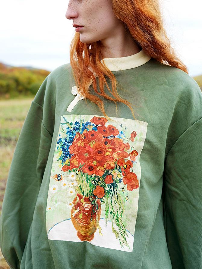 Cotton polyester long-sleeved floral loose sweatshirt