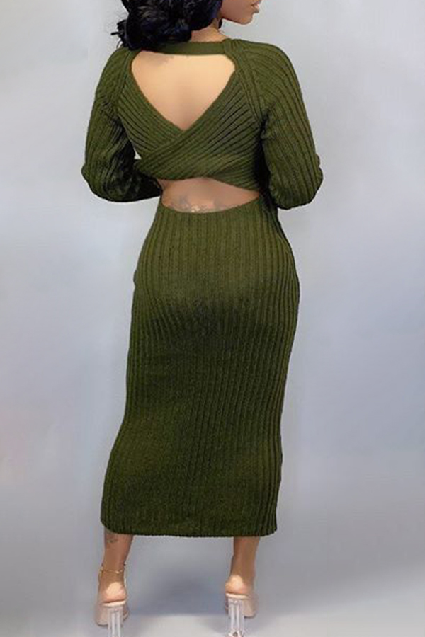 Backless Solid Color Sweater Dress