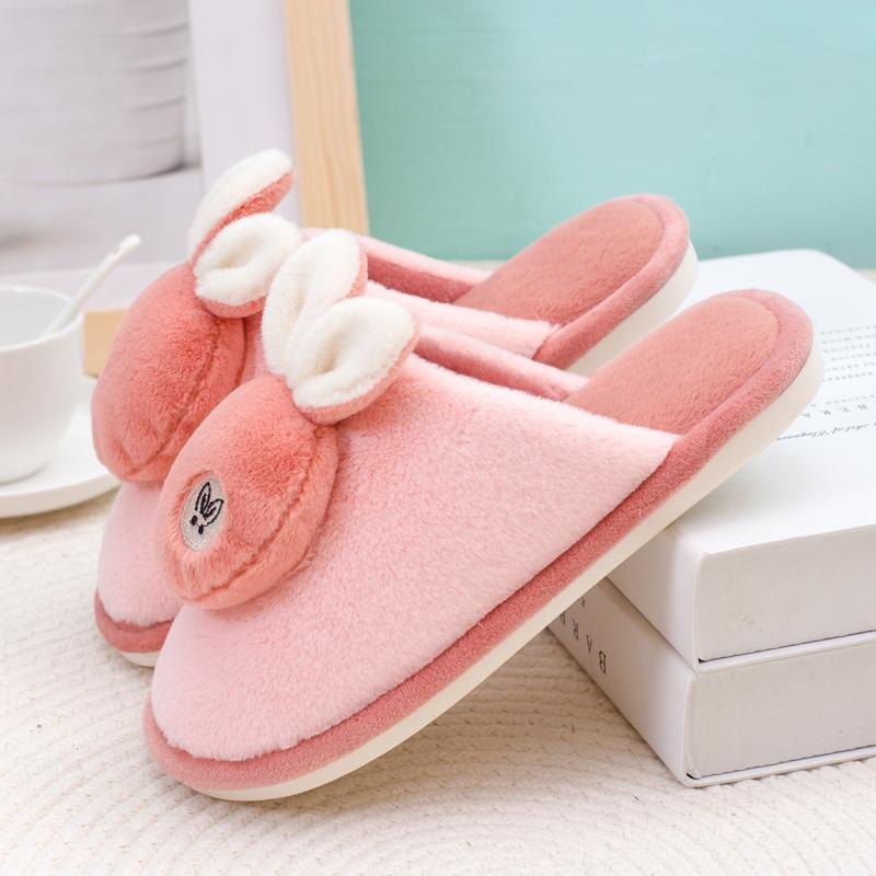 Cute bunny slippers for girls plush warm animal slippers for winter close toe