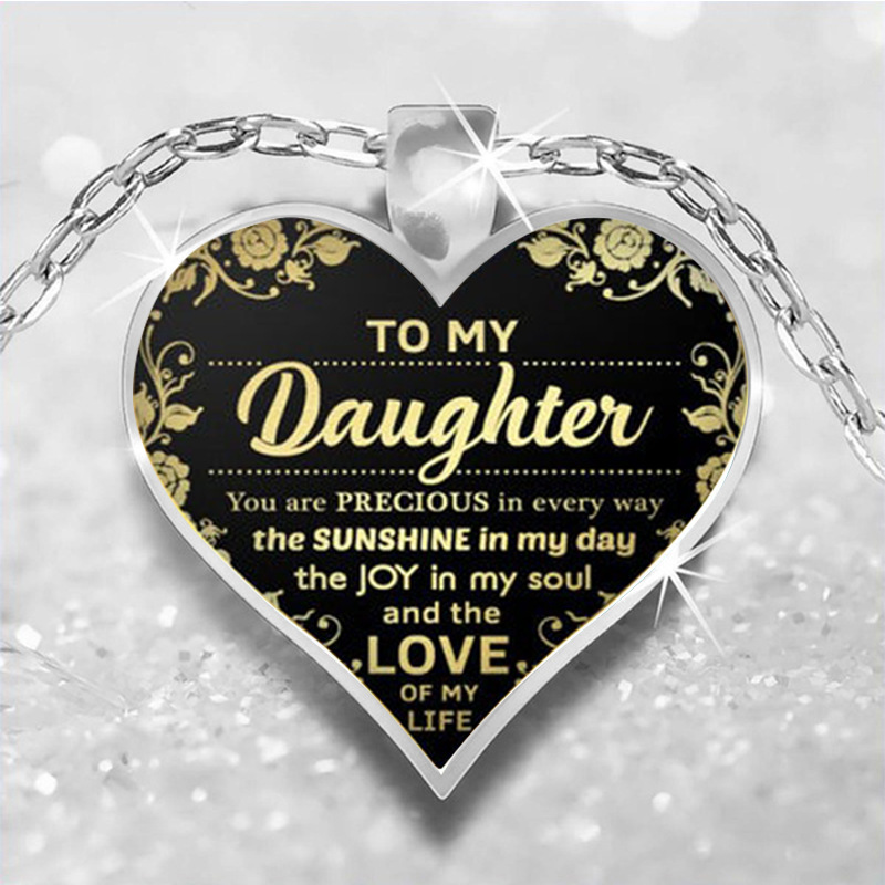 To My Daughter Love Heart Necklace