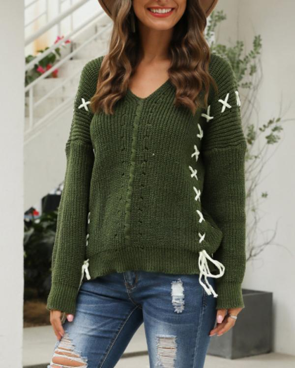 Fall Fashion Casual Solid Color V Neck Sweater