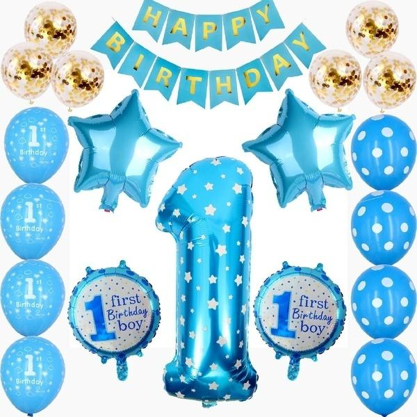 Number 1 Foil Balloon+Happy Birthday Banner+Star and Candy Balloons+Confetti Balloons for 1st Birthday Boy Girl Decorations
