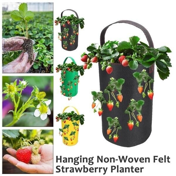 38*22cm Hanging Garden Planter Bed Planting Grow Bag Strawberry Plants Pot
