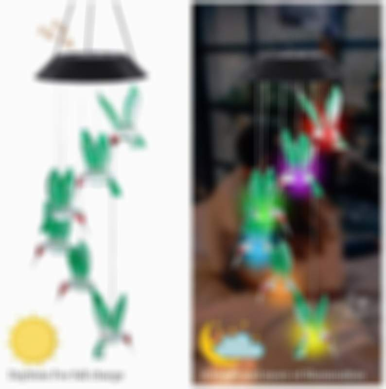 Solar Hummingbird Wind Chimes Color Changing Lights