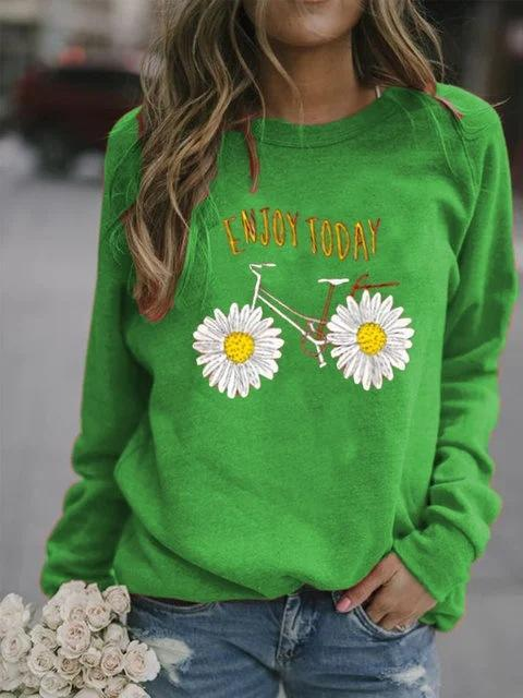 Casual Floral Printed Long Sleeve T-shirt
