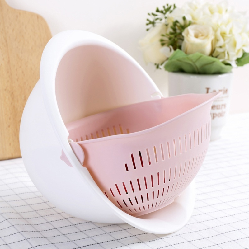 Portable Detachable Double-layer Hollow Fruit and Vegetable Cleaning Drain Basket Washed Rice Kitchen Gadgets