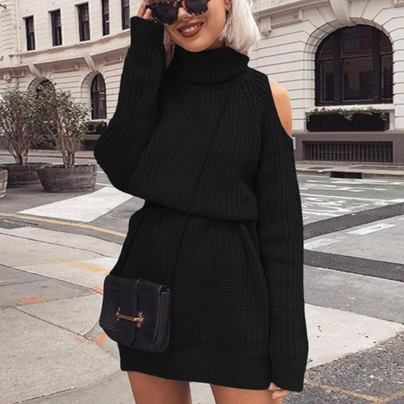 Knitted sweater with bare shoulders and turtleneck for Autumn and Winter for women