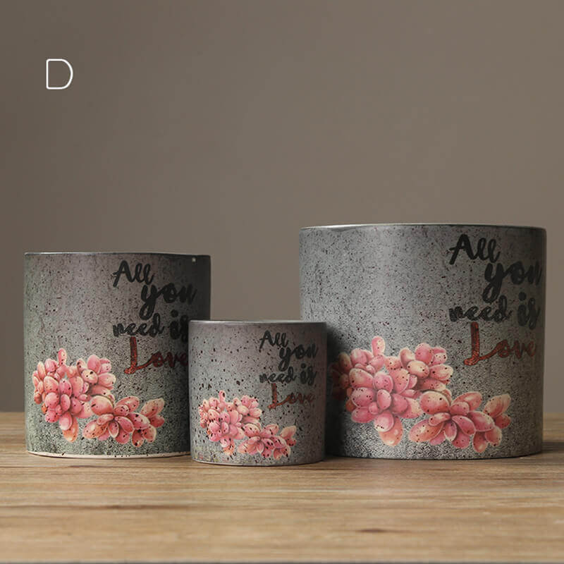 Cute Plant Three Piece Flower Pot Set