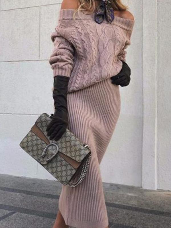 Casual one-shoulder mid-length knitted skirt