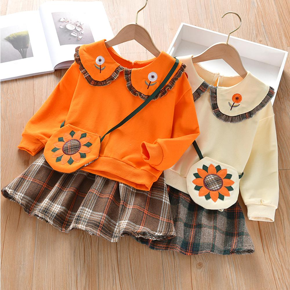 2-piece Sweet Solid Doll Collar Top and Plaid Skirt with Sunflower Bag Set