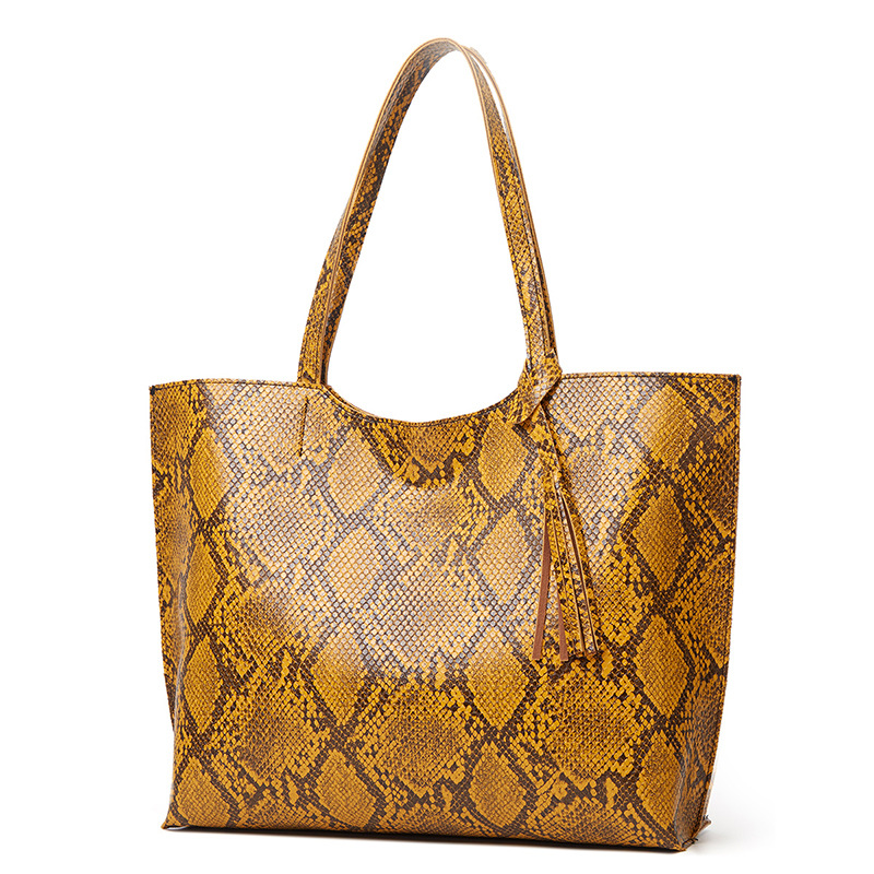 Large Leather Serpentine Tote Bag
