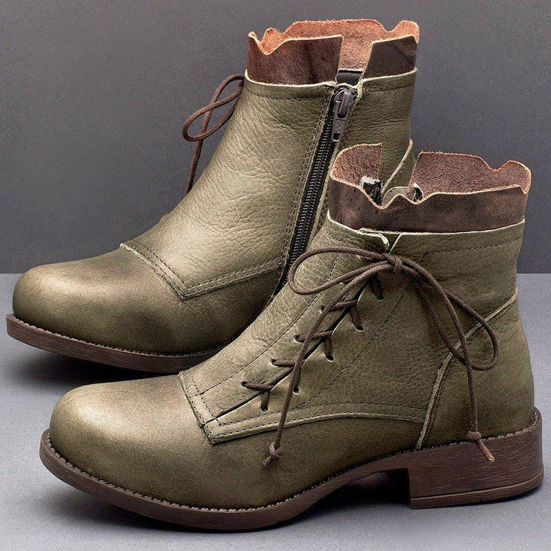 Lace-Up Low Heel Fashion Ankle Boots(FREE SHIPPING)