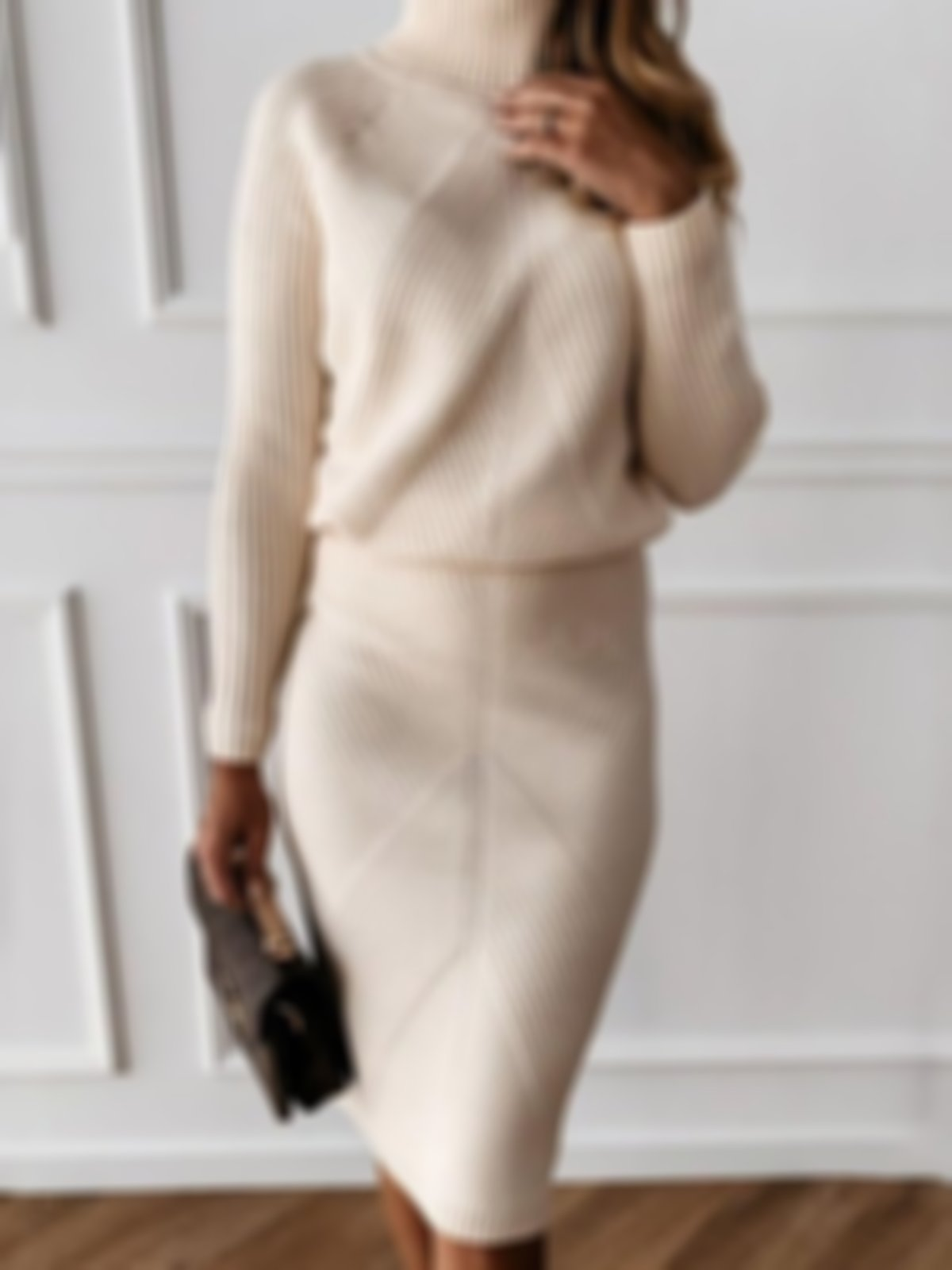 Long Sleeve Knee-Length Turtleneck Plain Pullover Dress