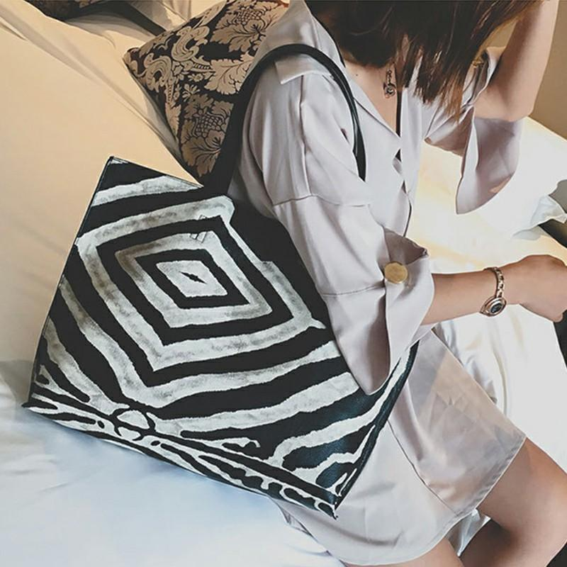 Zebra-patterned three-piece set of bags