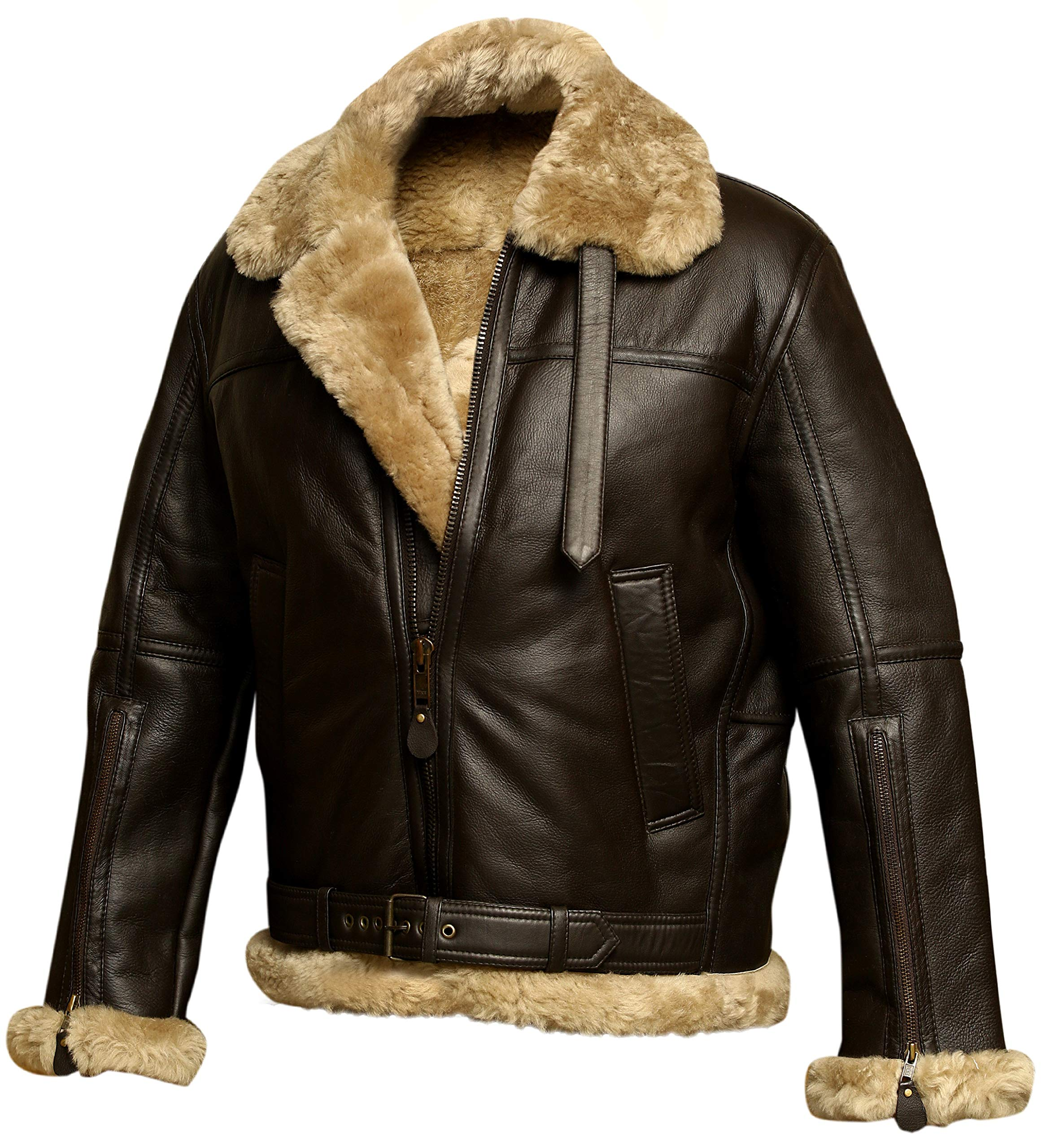 ✨NEW YEAR SALE 50%OFF-TODAY✨Aviator Bomber Jacket B3 Real Shearling Sheepskin Leather