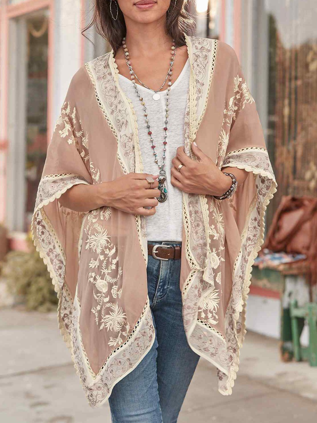 Chic floral printed loose spli joint cardigan