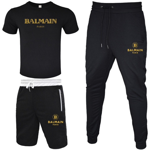 Summer New Men T shirt + Short Pants + Trousers  Set Short  Sleeve Tops Casual Trousers Tracksuits Sportsuit Clothing Sets