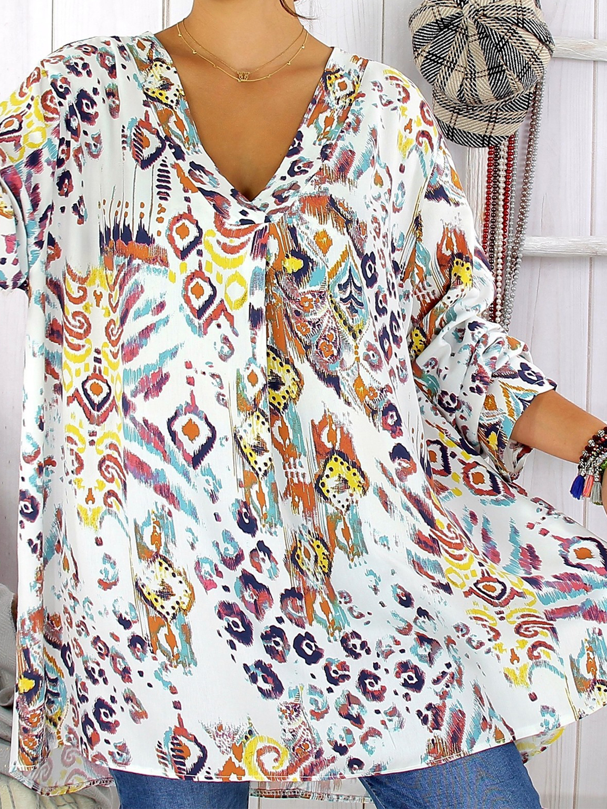 Casual Cotton,Polyester Long Sleeve Floral with T Shirt(Plus Size)