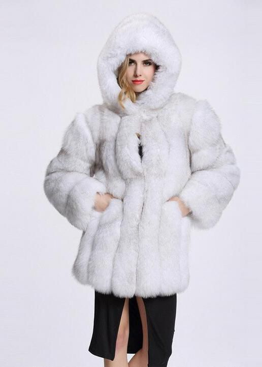 Plain Solid Long Sleeve Fur Hoody Coat