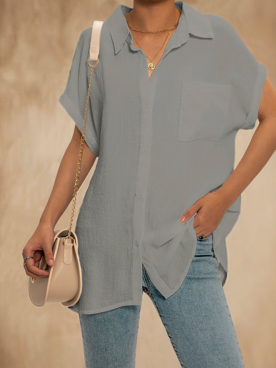 Women Relaxed Fit Collared Button Down Top Blouse