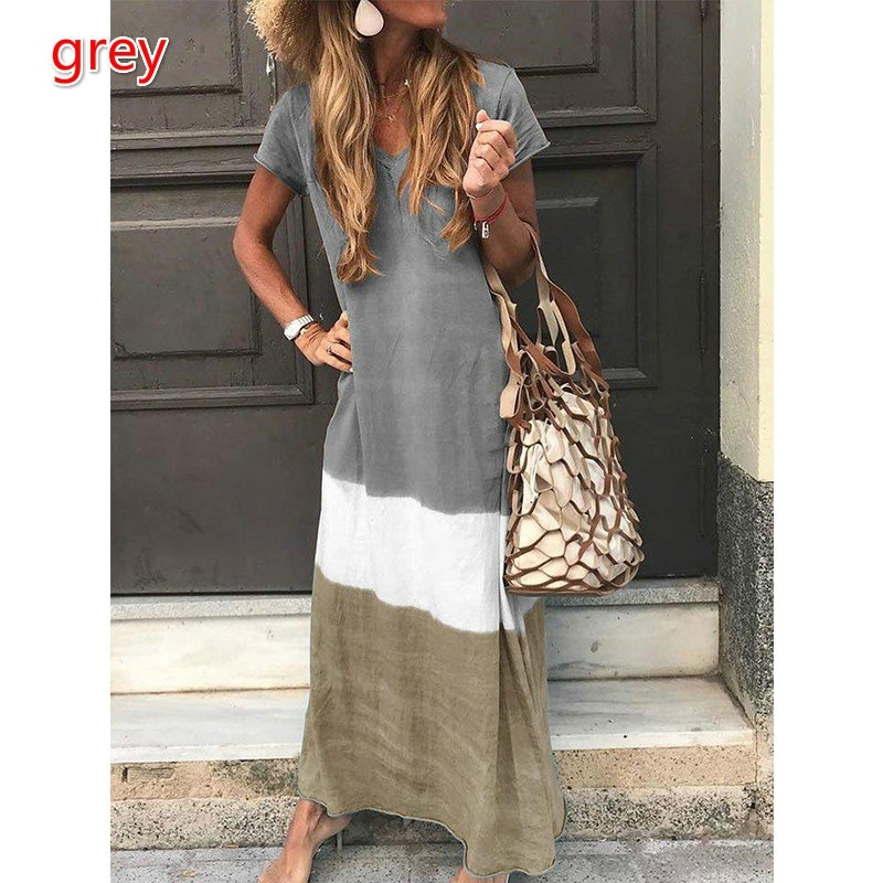 Women Short Sleeve V-neck Contrast Color Casual Loose Long Dresses