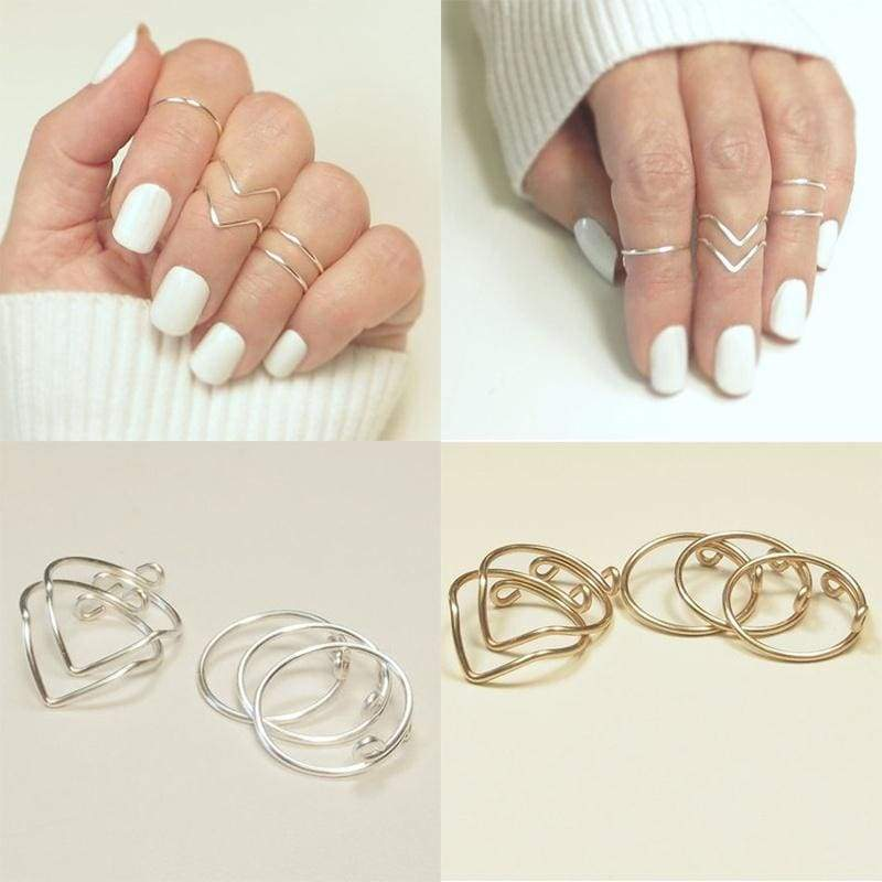 5pcs Hot Fashion Women Knuckle Chevrons Bands Midi Stacking Ring Set Jewelry