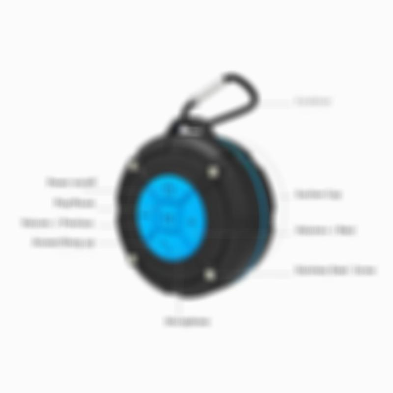 SKRTEN Portable Waterproof Wireless Bluetooth Shower Speaker for iPhone/Android