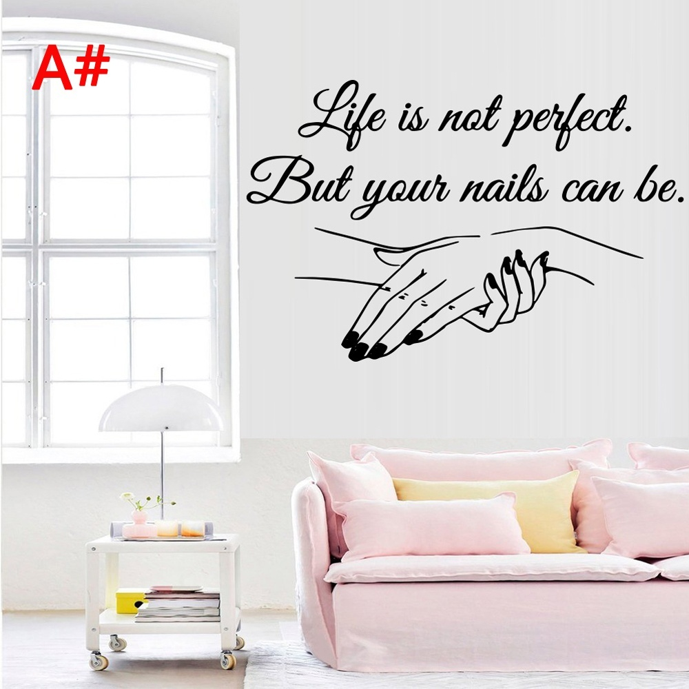 4 Style Creative Nail Salon Manicure Wall Sticker Vinyl Decor For Girl Bedroom Beauty Salon Decoration Decal Removable Wallpaper