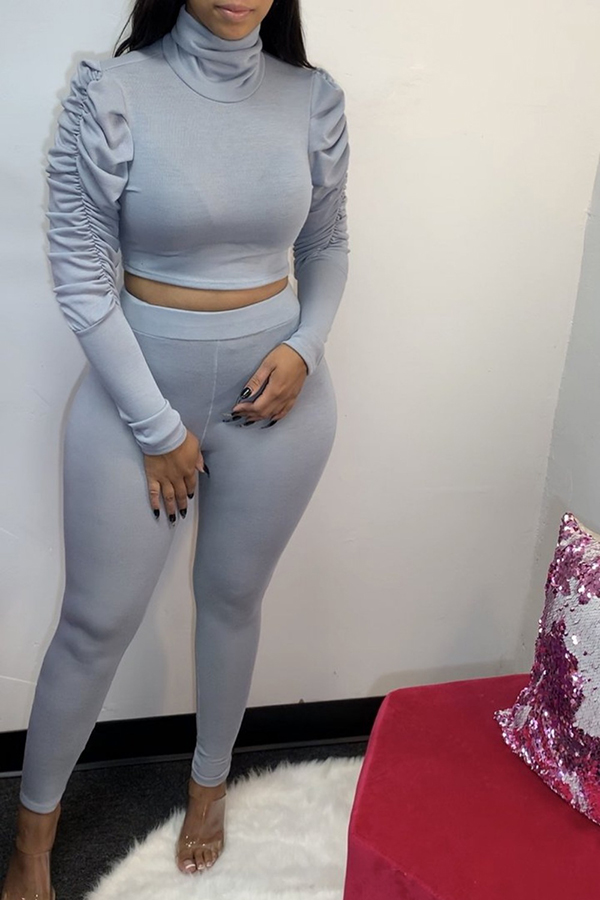Turtle Neck Puff Sleeve Two-piece Set