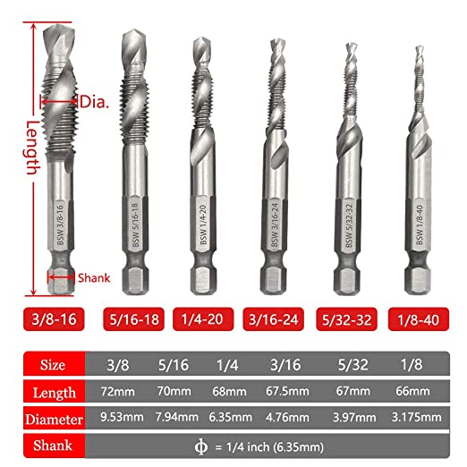 6 Pcs M3-M10 Hex Shank Thread Tap Drill Bits