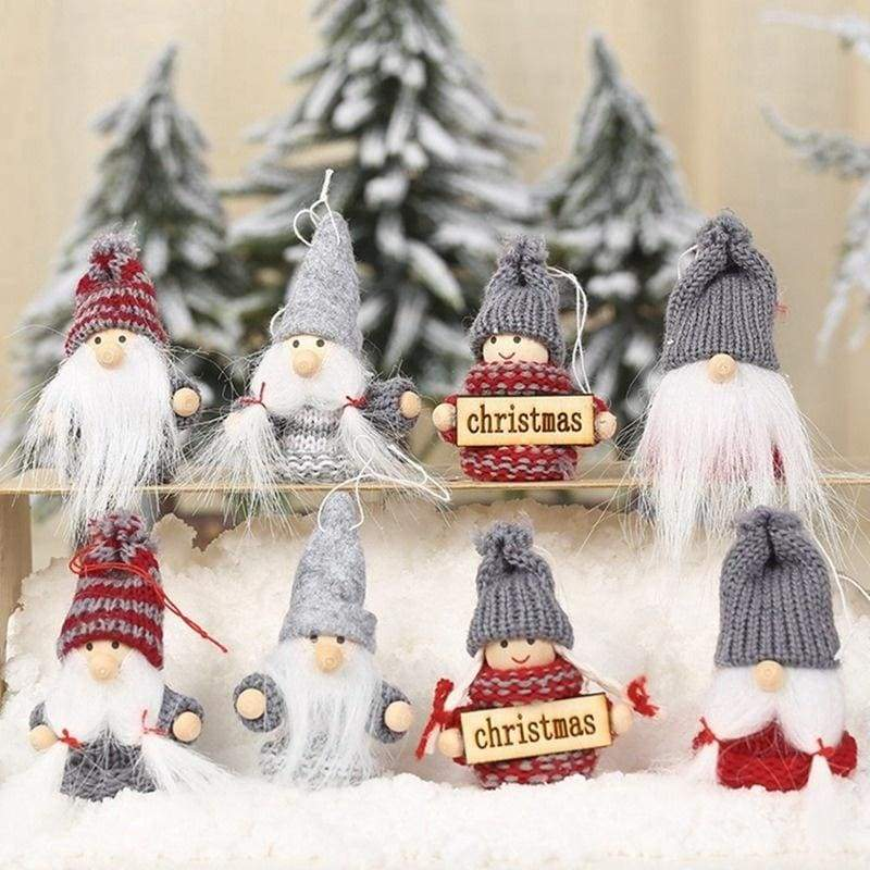 2Pcs/Set New Cute Christmas Plush Knitting Pendant Doll Toy Gift Home Party Xmas Decorations