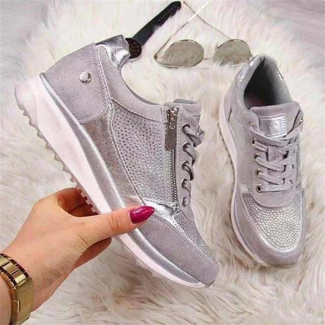 2020 Casual Wedge Ladies Flat Shoes Zipper Comfortable Shoes