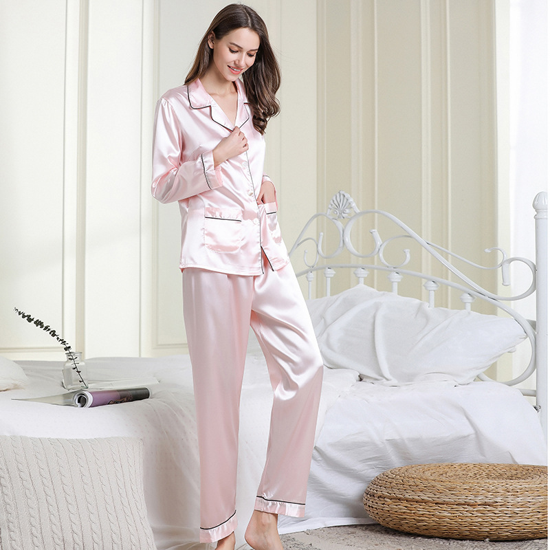 2-piece set of solid color lapel pajamas