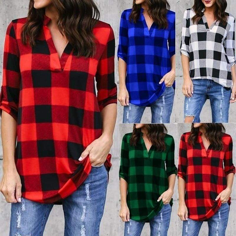 2020 New Women Fashion Plaid Print V-neck Long-sleeved Plus Size Loose Shirt