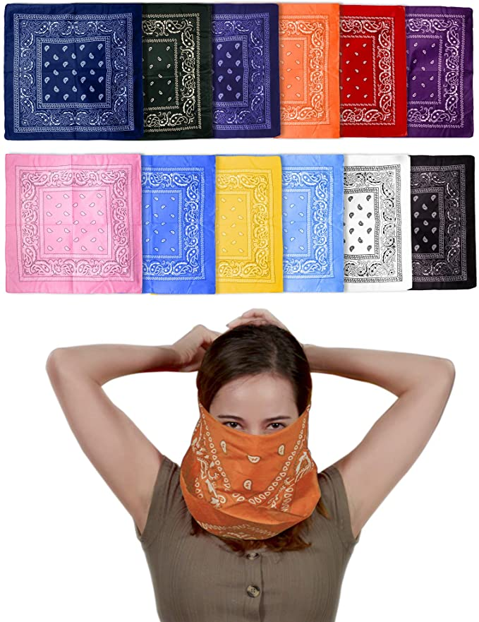 Arosetop 6PCS Cloth Bandana Nose Face Cover Scarf Head Wrap for Dust Protection | 100% Cotton