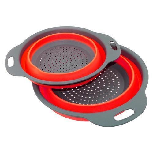 2 Pack Collapsible Colanders Set, Food-Grade Silicone kitchen Strainer