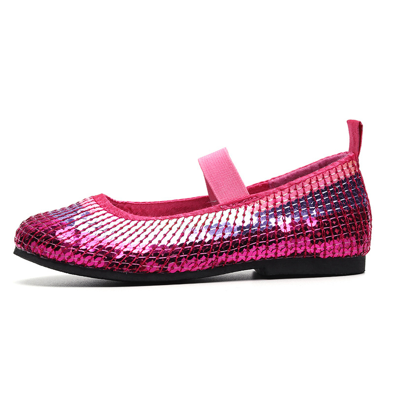 bright pink elastic princess shiny girls shoes