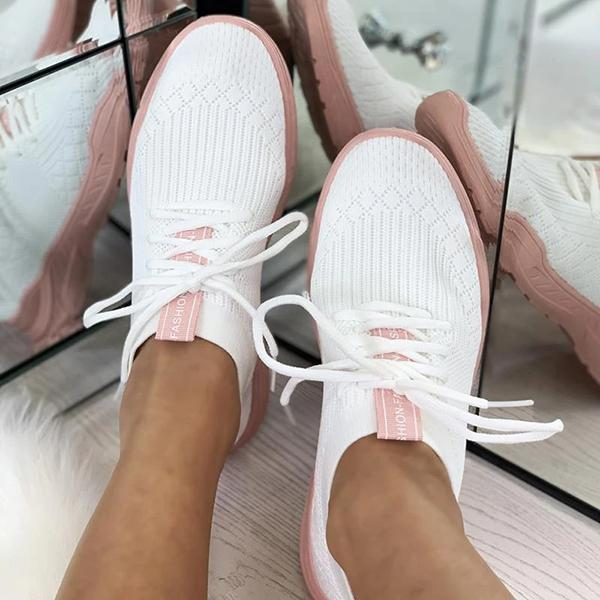 Twinklemoda Breathable Colorblock Knitted Elastic Cuff Lace-Up Comfortable Sneakers