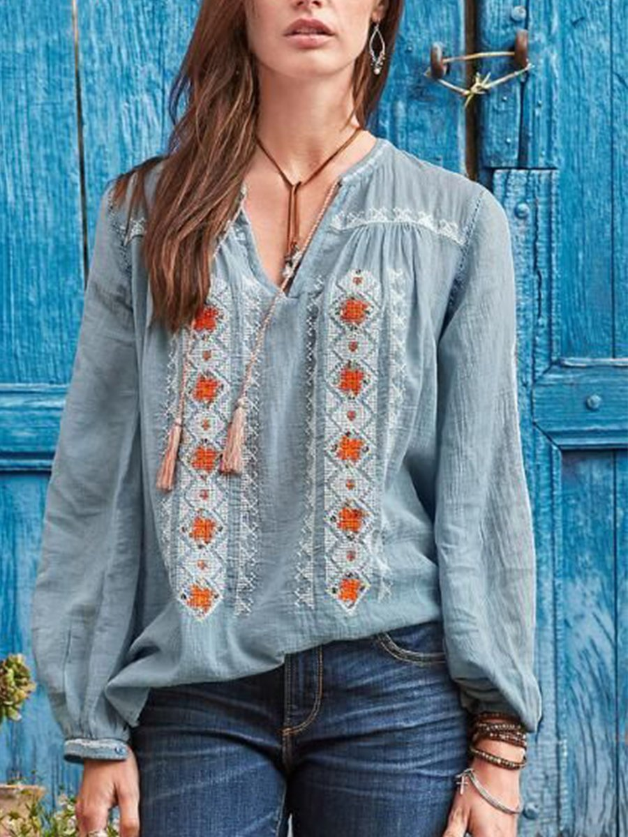 Blue Cotton-Blend Boho V Neck Blouse