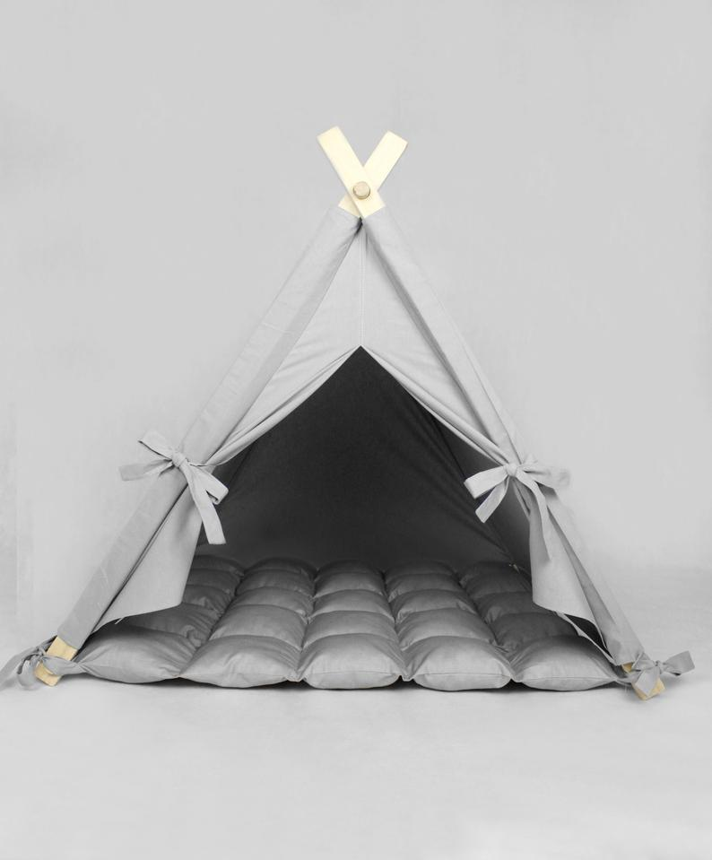 Dog Bed Cat Plain Gray, Cat Bed, Pet Bed, Dog Teepee, Dog House, Cat Teepee, Pet Teepee