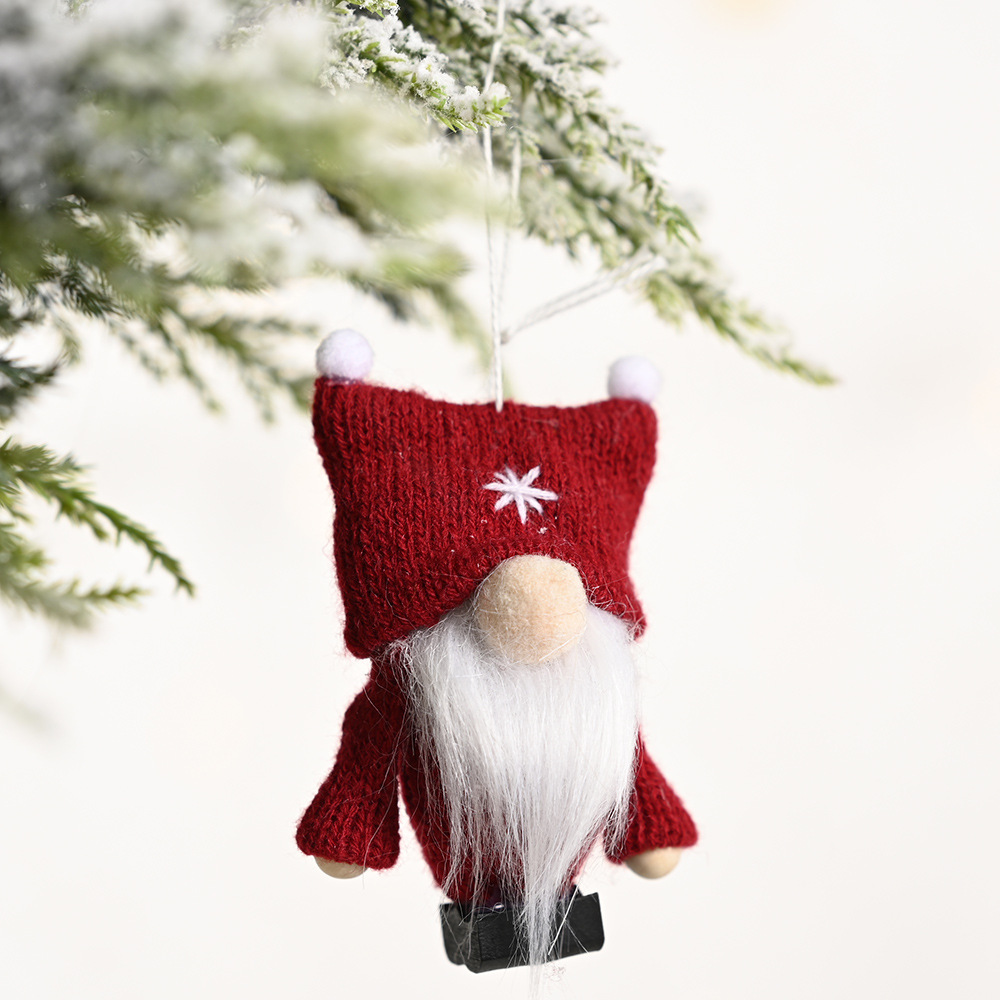 Christmas double ball hat forest old faceless gnome goblin knitted pendants