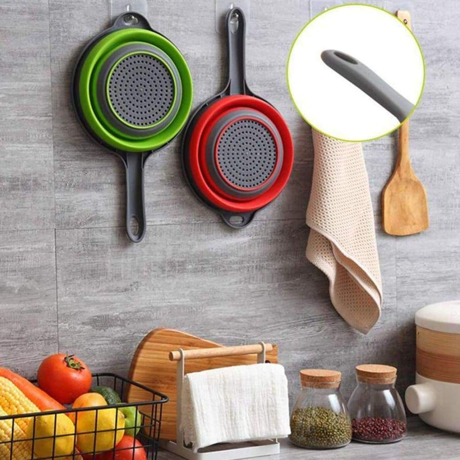 Foldable Silicone Wash Colander Fruit Vegetable Washing Basket Kitchen Collapsible Strainer with Handle